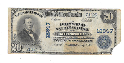1902 $20 Griswold National Bank Of Detroit Michigan Large National Currency