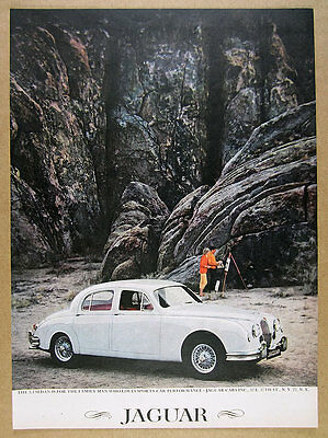 1959 Jaguar 3.4 Sedan white car color photo vintage print Ad