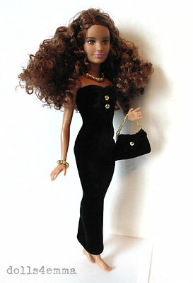 PETITE Body BARBIE CLOTHES OOAK Black Gown Dress, Purse & Jewelry NO DOLL d4e
