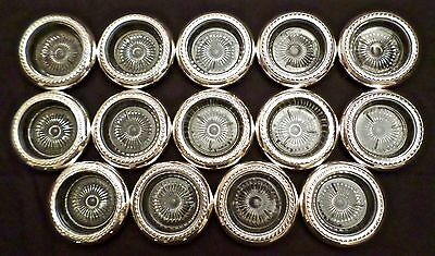 LOT: Fourteen (14) Vintage Glass Coasters (Sunburst Design) with Sterling Rims