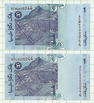 Malaysia 11th series RM1 Low and Match Serial Number UNC Paper Banknote
