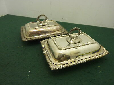 Pair of 26.5 cm Oblong EPNS Silver Plated Lidded Entree Dish Food Serving Trays