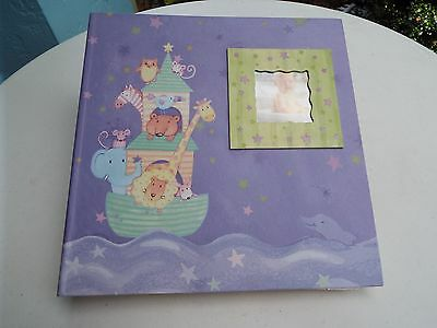 """Noah's Ark Large Purple and Lime Adorable Baby Photo Album  11 1/2"""" x  11 1/4"""""""