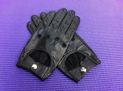 Mens Genuine Lamb Skin Leather Rally Motorbike Driving Gloves Black Touch Screen