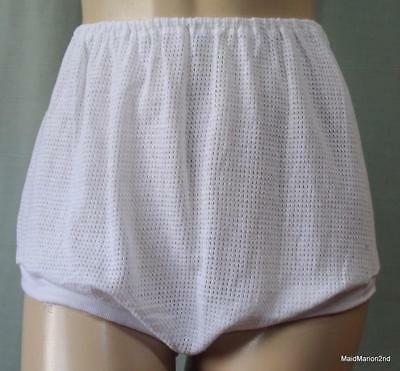 VINTAGE SOFT WHITE EYELET COTTON KNICKERS Med     a