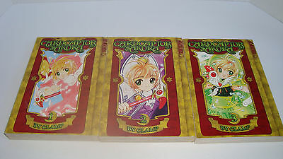Lot Of  3 CARDCAPTOR SAKURA Paperbacks by Clamp 1 2 3  Tokyopop Manga Books