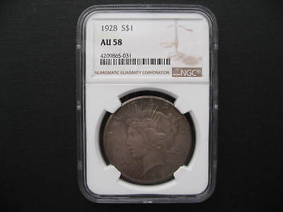 AU 58, NGC certified 1928 $1 Peace Dollar, 90% silver coin, almost uncirculated