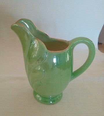 Maling  luster wear little green jug with gold trim