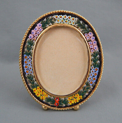 Vintage Art Deco Brass Floral Flower Micor Mosaic Miniature Picture Frame Italy