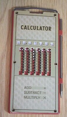 RARE VINTAGE Mechanical Calculator Adding Machine With Pen1960's (MADE IN JAPAN)