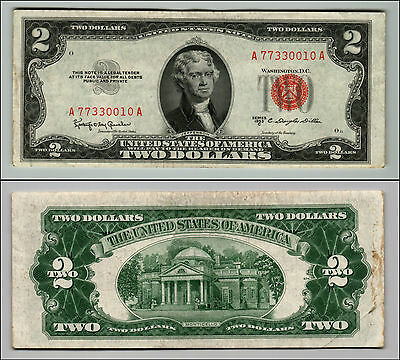 1953C $2 Dollar Bill Old Us Note Legal Tender Paper Money Currency Red Seal Q871