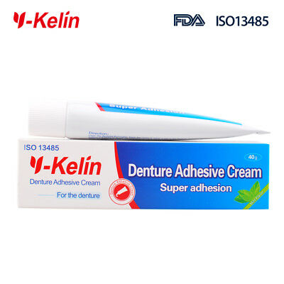 Denture Adhesive Cream Remove Secure Grip Correct Hold Mouth Strips 40g Ykelin