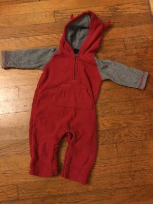 Baby Gap Fleece Red And Grey One Piece Suit.  6-12 Months