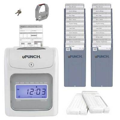 Employee Time Clock Machine Electronic Punch 100-Cards and 2 10-Slot Card Racks