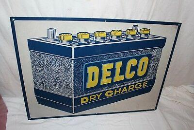 "Original Vintage 1950's Delco Battery Gas Station Chevrolet Ford 28"" Metal Sign"