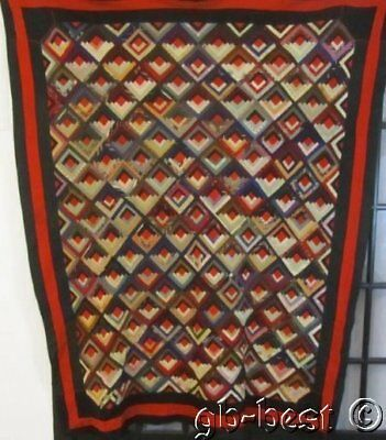 Antique PA 1890-1900 Log Cabin QUILT Top Mennonite Amish WOOLs Red Centers