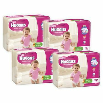 Huggies Ultra Dry Girls Nappies, 128 Pack - Walker Size 5, Weight 13 - 18kg
