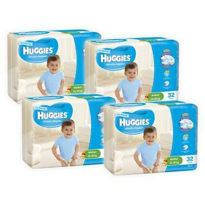 Huggies Ultra Dry Boys Nappies, 128 Pack - Walker Size 5, Weight 13 - 18kg