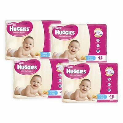 Huggies Ultra Dry Girls Nappies, 192 Pack - Infant Size 2, Weight 4 - 8kg
