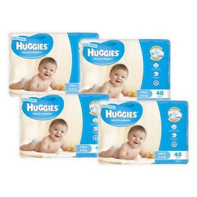 Huggies Ultra Dry Boys Nappies, 192  Pack - Infant Size 2, Weight 4 - 8kg