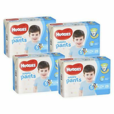 Huggies Ultra Dry Boys Nappy Pants, 104 Pack - Walker Size 5, Weight 12 - 17kg