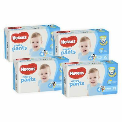 Huggies Ultra Dry Boys Nappy Pants, 116 Pack - Toddler Size 4, Weight 9-14kg