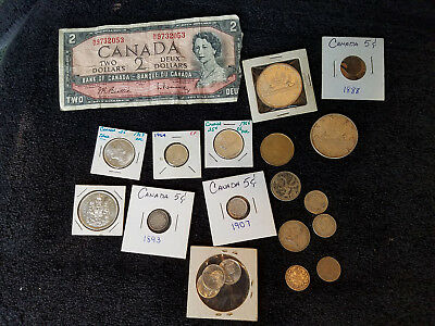 Miscellaneous lot of 20 Canadian Coins & Currency    ~ ~   #91211