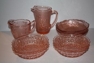 "Lot of Pink Depression Glass 2 Dessert Dishes, 3 Bowls, 1Sm. Pitcher 5"", Creamer"