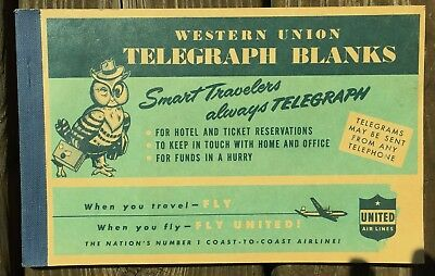 Vintage UNITED AIRLINES WESTERN UNION TELEGRAPH BLANKS Book of 48-1940's-50's