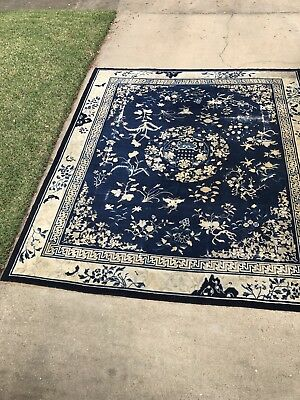 18th / 19th Antique Century Chinese Ningxia Period Rug Butterflies Swastikas