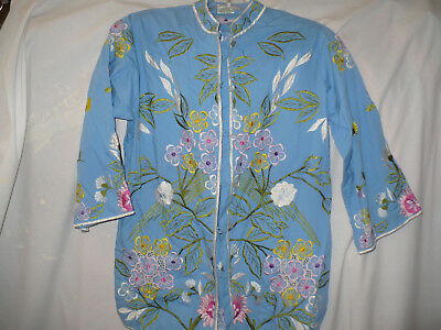 Blue Top Philippine Style Lots of Multi Color Embroidery Floral Pattern 8