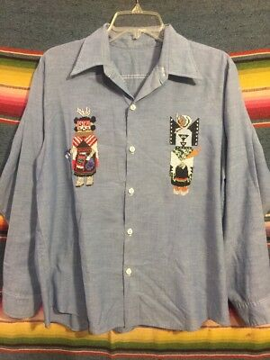 Vintage 60's/70's Cotton Blend Chambray Denim Shirt W/ Native Embroidery M