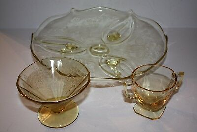 Lot of 3 Yellow Depression Glass 1Footed Cake Plate, 1 Dessert Dish 1 Cup