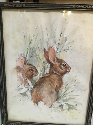 1970s Vintage Paul Whitney Hunter Rabbits Framed Print Watercolor Animals
