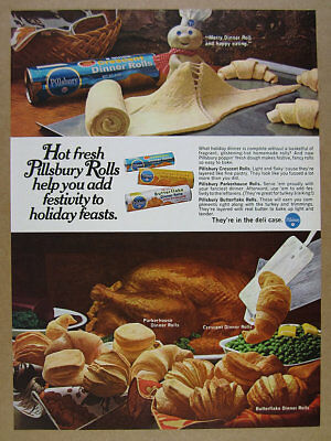 1969 Pillsbury Rolls Crescent Parkerhouse Butterflake doughboy vintage print Ad