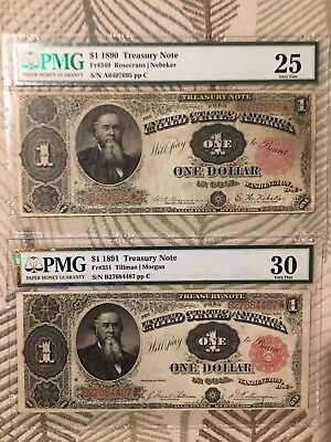 $1 1890 Stanton and 1891 Treasury Notes Graded PMG Very Fine