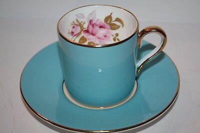 Aynsley England Turquoise Demitasse Teacup and Saucer
