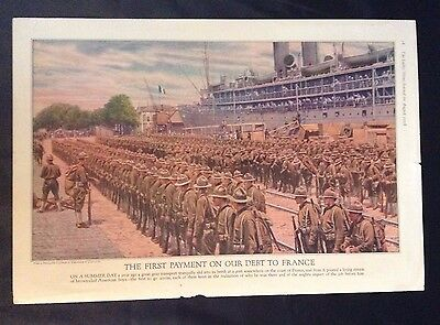 1918 WWI Vintage Painting ~ Doughboys Disembarking at French Port