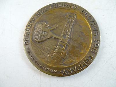 Vintage Peabody Coal Bucyrus Erie Bronze Medal Paperweight Advertising Antique