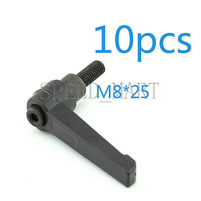 10 pcs Machinery M8 x 25mm Threaded Knob Adjustable Handle Clamping Lever