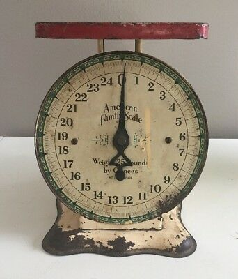 Antique American Family Scale-25 Pound Rustic Kitchen Counter Farmhouse Scale