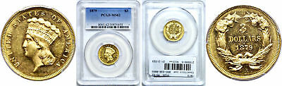 1879 Three Dollar Gold Coin PCGS MS-62