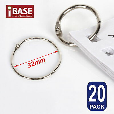 20x Hinged Ring Clips 32mm Binder Hinge Metal Scrapbooking Split album calendar