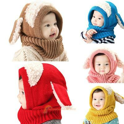 Baby Toddler Girls Boys Winter Warm Hat Beanie Hooded Scarf Earflap Knitted Cap