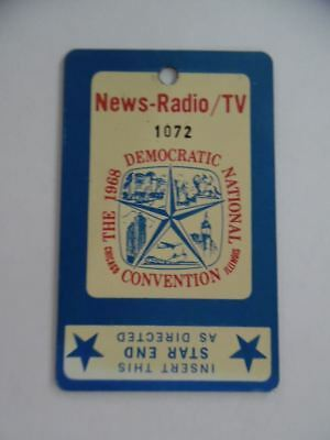 1968 Democratic National Convention Radio TV Floor Pass Chicago DNC Vintage ORIG