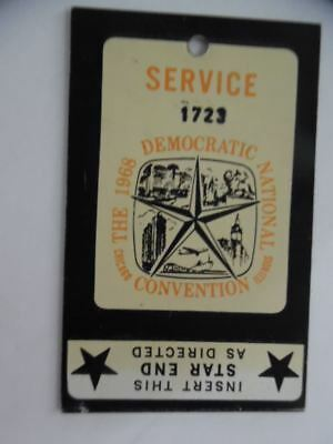 1968 Democratic National Convention Service Worker Pass Chicago Vintage ORIGINAL
