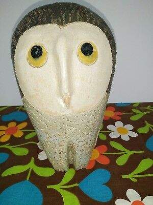 1970's Pottery Owl, Retro Collectible Figurine