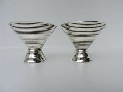 Exquisite Rare 2P Art Deco Japanese Solid Sterling Silver Goblets Cups Set Japan