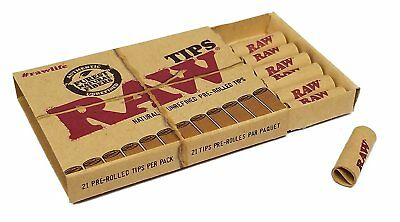 5 Packs - Raw Pre-Rolled Tips (21 Tips Per Pack)