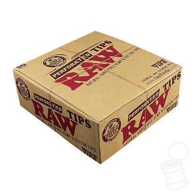 50 Packs - Raw Wide Perforated Roll Up Tips (Full Box - 50 Tips Per Pack)